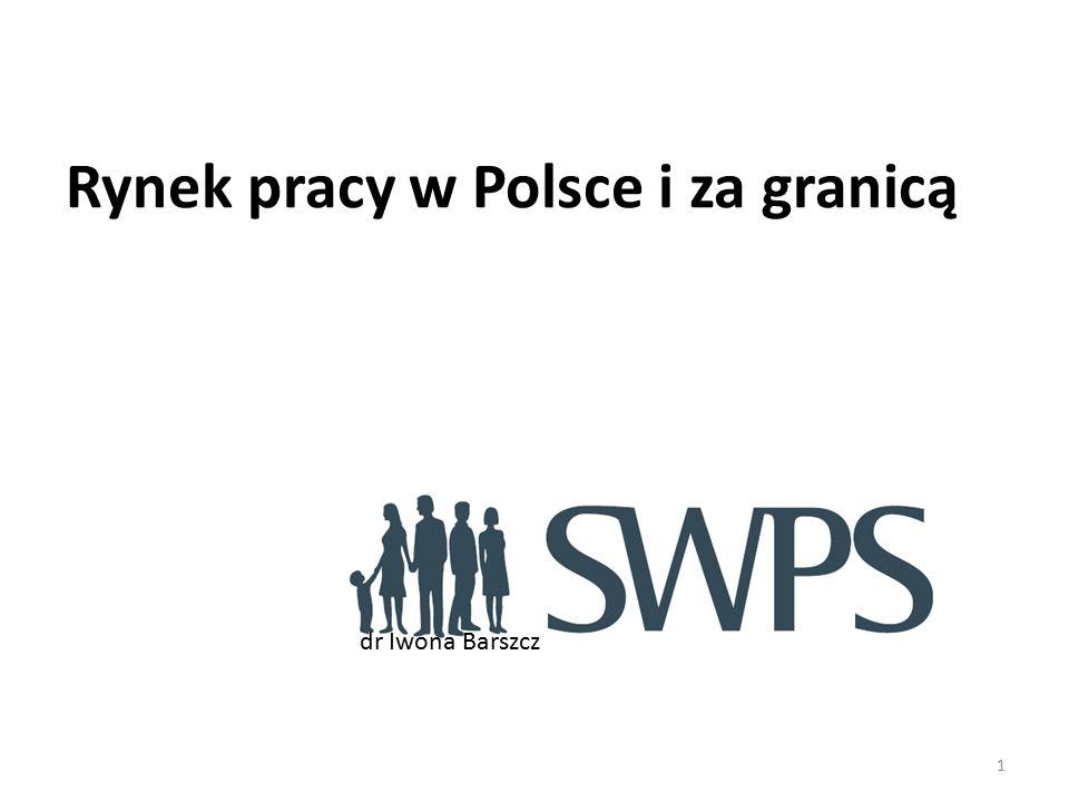 1 Rynek pracy w Polsce i za granicą dr Iwona Barszcz