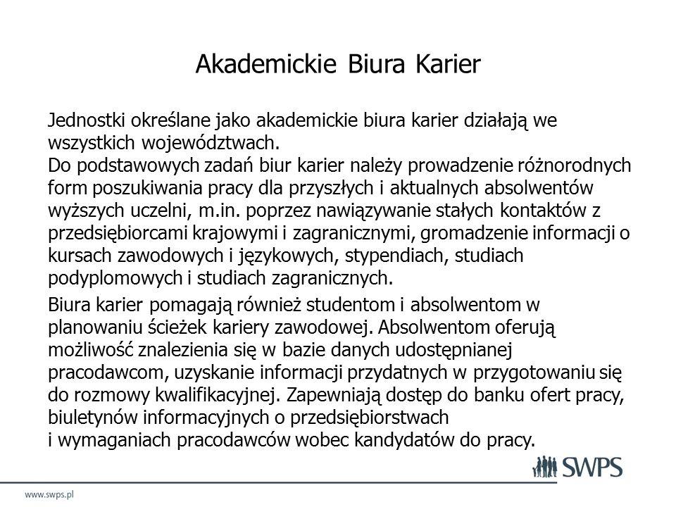 Akademickie Biura Karier Jednostki określane jako akademickie biura karier działają we wszystkich województwach.