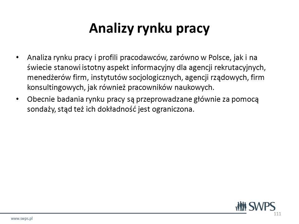 Analizy rynku pracy Analiza rynku pracy i profili pracodawców, zarówno w Polsce, jak i na świecie stanowi istotny aspekt informacyjny dla agencji rekrutacyjnych, menedżerów firm, instytutów socjologicznych, agencji rządowych, firm konsultingowych, jak również pracowników naukowych.