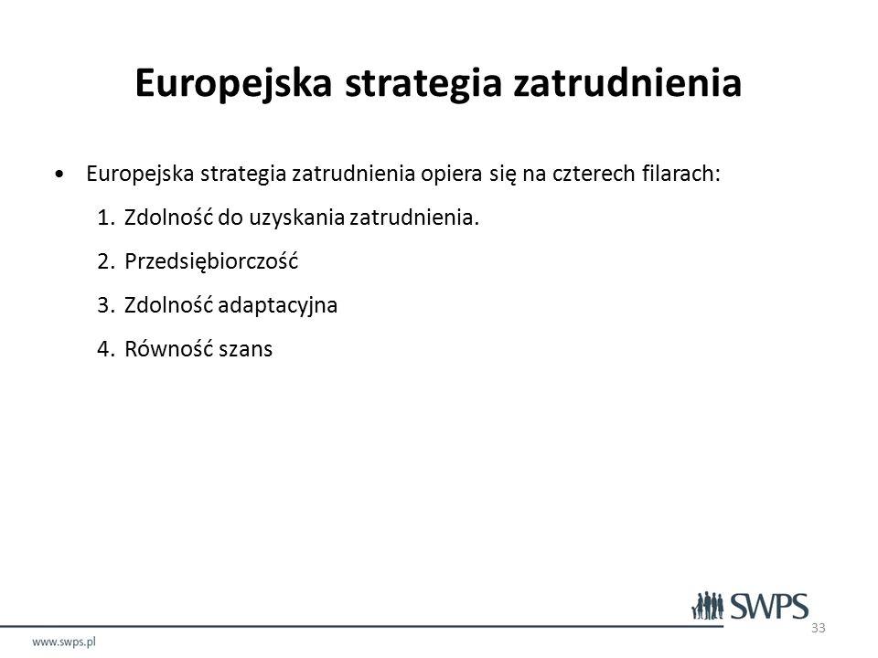 Europejska strategia zatrudnienia Europejska strategia zatrudnienia opiera się na czterech filarach: 1.Zdolność do uzyskania zatrudnienia.