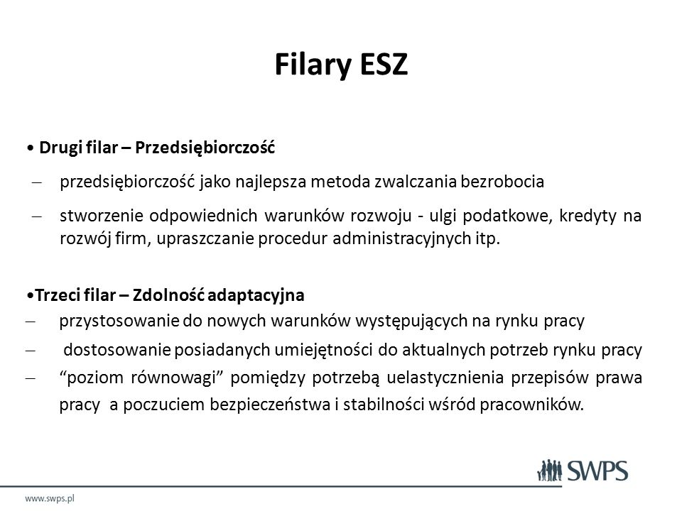 Filary ESZ Drugi filar – Przedsiębiorczość – przedsiębiorczość jako najlepsza metoda zwalczania bezrobocia – stworzenie odpowiednich warunków rozwoju - ulgi podatkowe, kredyty na rozwój firm, upraszczanie procedur administracyjnych itp.