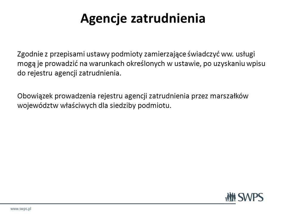 Agencje zatrudnienia Zgodnie z przepisami ustawy podmioty zamierzające świadczyć ww.