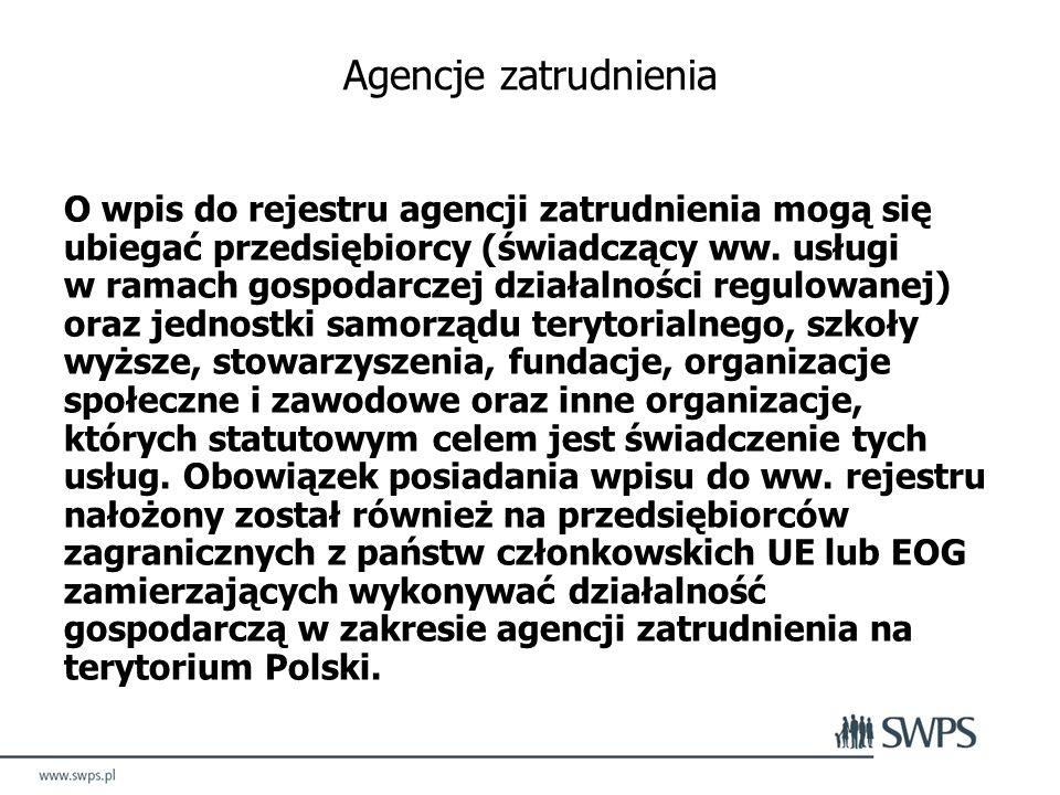 Agencje zatrudnienia O wpis do rejestru agencji zatrudnienia mogą się ubiegać przedsiębiorcy (świadczący ww.