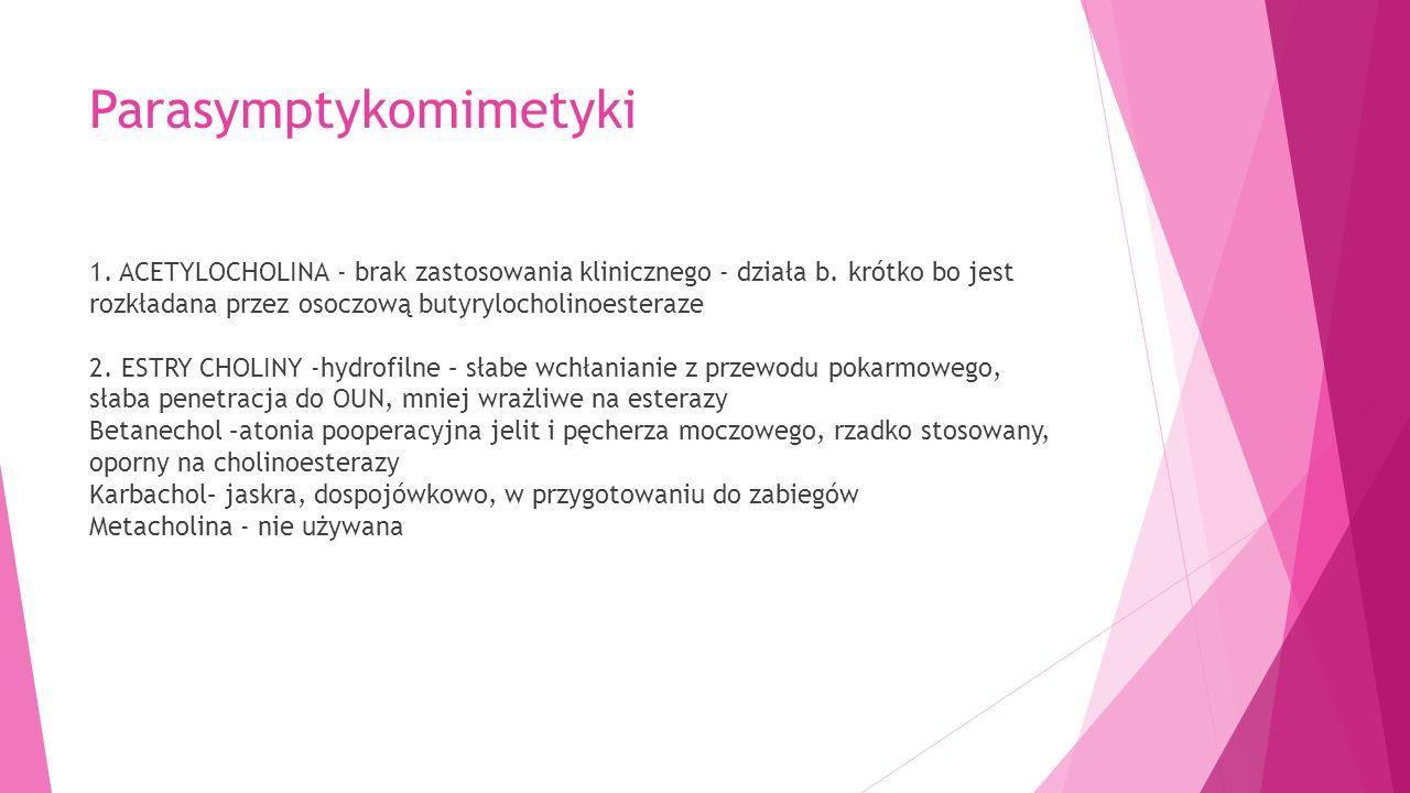Parasymptykomimetyki 1. ACETYLOCHOLINA - brak zastosowania klinicznego - działa b.