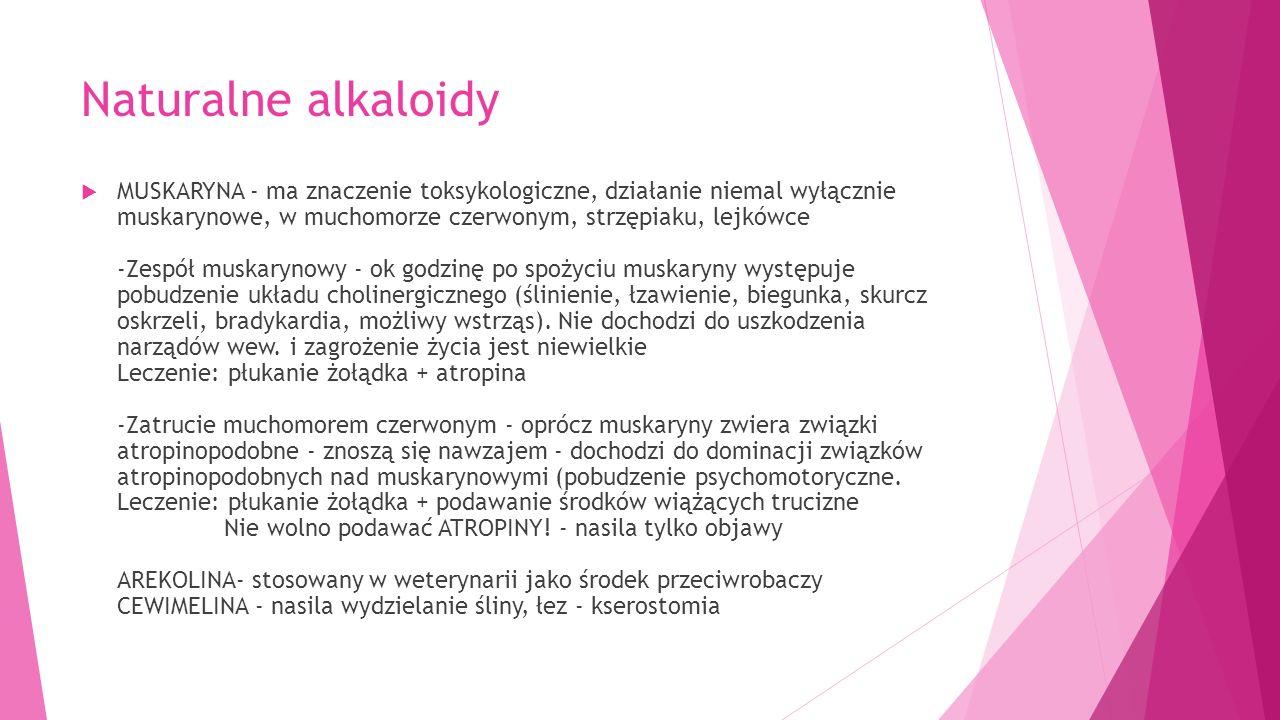 Naturalne alkaloidy  MUSKARYNA - ma znaczenie toksykologiczne, działanie niemal wyłącznie muskarynowe, w muchomorze czerwonym, strzępiaku, lejkówce -Zespół muskarynowy - ok godzinę po spożyciu muskaryny występuje pobudzenie układu cholinergicznego (ślinienie, łzawienie, biegunka, skurcz oskrzeli, bradykardia, możliwy wstrząs).