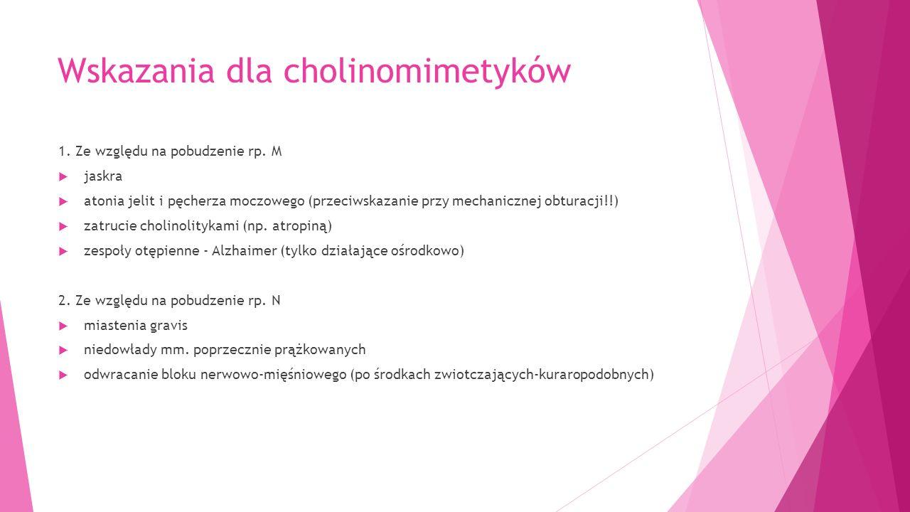 Wskazania dla cholinomimetyków 1. Ze względu na pobudzenie rp.