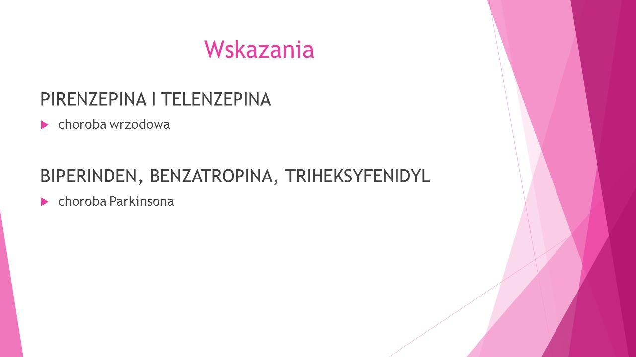 Wskazania PIRENZEPINA I TELENZEPINA  choroba wrzodowa BIPERINDEN, BENZATROPINA, TRIHEKSYFENIDYL  choroba Parkinsona
