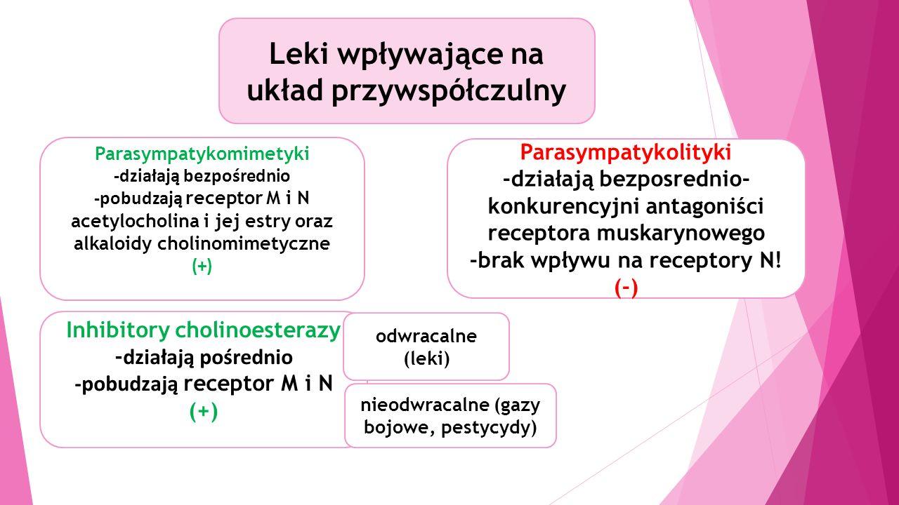 Leki wpływające na układ przywspółczulny Parasympatykomimetyki -działają bezpośrednio -pobudzają receptor M i N acetylocholina i jej estry oraz alkaloidy cholinomimetyczne (+) Parasympatykolityki -działają bezposrednio- konkurencyjni antagoniści receptora muskarynowego -brak wpływu na receptory N.