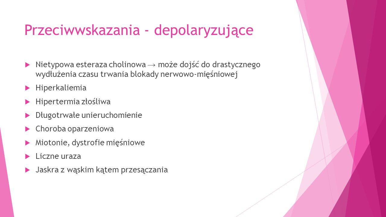 Przeciwwskazania - depolaryzujące  Nietypowa esteraza cholinowa → może dojść do drastycznego wydłużenia czasu trwania blokady nerwowo-mięśniowej  Hiperkaliemia  Hipertermia złośliwa  Długotrwałe unieruchomienie  Choroba oparzeniowa  Miotonie, dystrofie mięśniowe  Liczne uraza  Jaskra z wąskim kątem przesączania