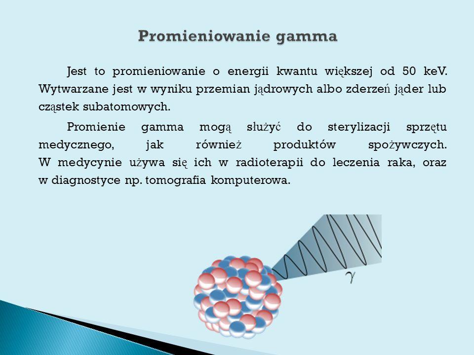 Jest to promieniowanie o energii kwantu wi ę kszej od 50 keV.