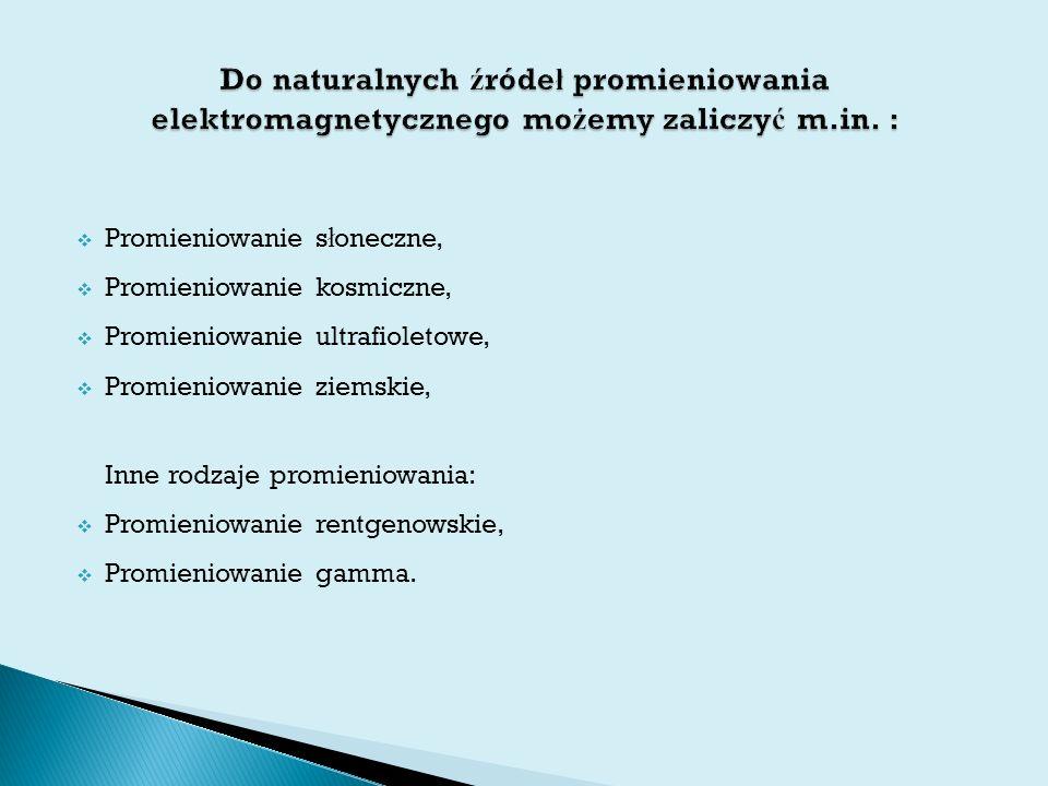  Promieniowanie s ł oneczne,  Promieniowanie kosmiczne,  Promieniowanie ultrafioletowe,  Promieniowanie ziemskie, Inne rodzaje promieniowania:  Promieniowanie rentgenowskie,  Promieniowanie gamma.