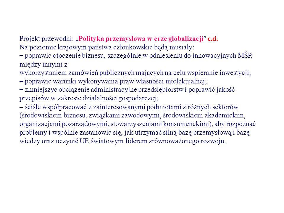 """Projekt przewodni: """" Polityka przemysłowa w erze globalizacji c.d."""