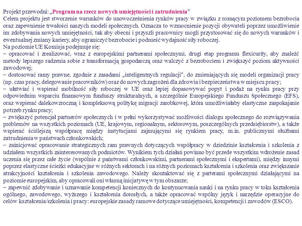 """Projekt przewodni: """" Program na rzecz nowych umiejętności i zatrudnienia Celem projektu jest stworzenie warunk ó w do unowocześnienia rynk ó w pracy w związku z rosnącym poziomem bezrobocia oraz zapewnienie trwałości naszych modeli społecznych."""