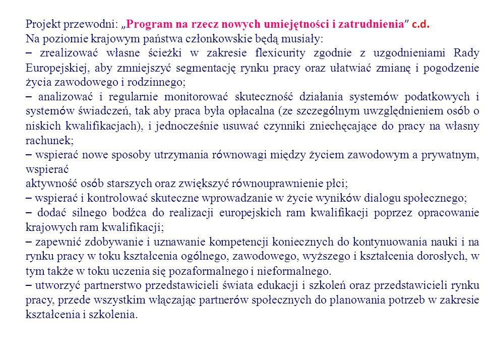 """Projekt przewodni: """" Program na rzecz nowych umiejętności i zatrudnienia """" c.d. Na poziomie krajowym państwa członkowskie będą musiały: – zrealizować"""