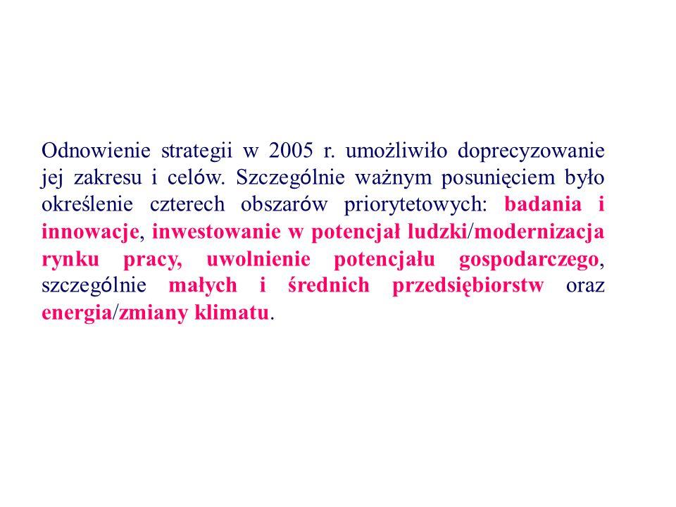 Odnowienie strategii w 2005 r. umożliwiło doprecyzowanie jej zakresu i cel ó w. Szczeg ó lnie ważnym posunięciem było określenie czterech obszar ó w p
