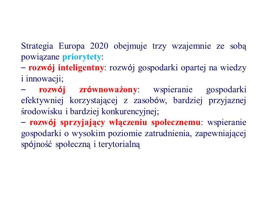 Strategia Europa 2020 obejmuje trzy wzajemnie ze sobą powiązane priorytety: – rozw ó j inteligentny: rozw ó j gospodarki opartej na wiedzy i innowacji; – rozw ó j zr ó wnoważony: wspieranie gospodarki efektywniej korzystającej z zasob ó w, bardziej przyjaznej środowisku i bardziej konkurencyjnej; – rozw ó j sprzyjający włączeniu społecznemu: wspieranie gospodarki o wysokim poziomie zatrudnienia, zapewniającej sp ó jność społeczną i terytorialną
