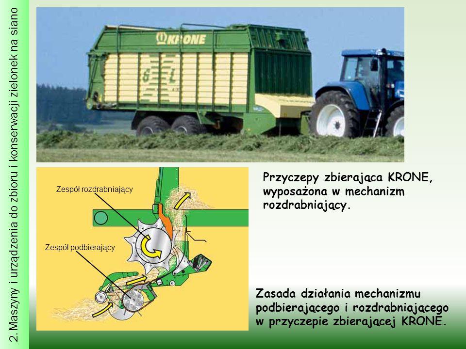 2. Maszyny i urządzenia do zbioru i konserwacji zielonek na siano Przyczepy zbierająca KRONE, wyposażona w mechanizm rozdrabniający. Zasada działania