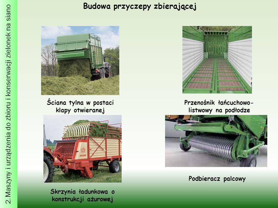2. Maszyny i urządzenia do zbioru i konserwacji zielonek na siano Budowa przyczepy zbierającej Ściana tylna w postaci klapy otwieranej Przenośnik łańc