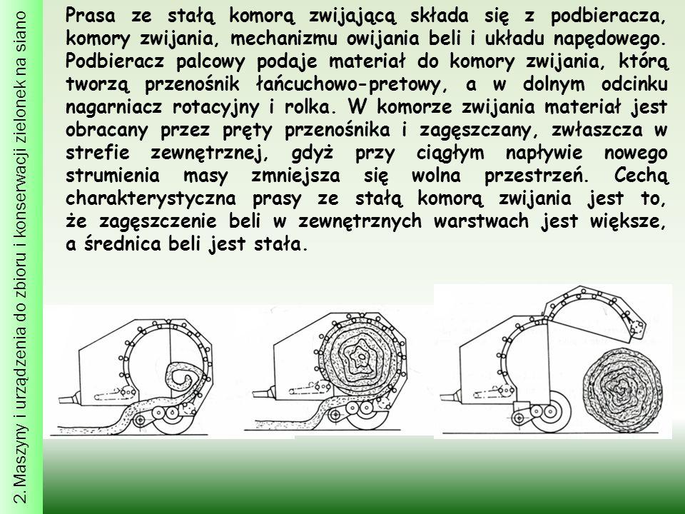 2. Maszyny i urządzenia do zbioru i konserwacji zielonek na siano Prasa ze stałą komorą zwijającą składa się z podbieracza, komory zwijania, mechanizm