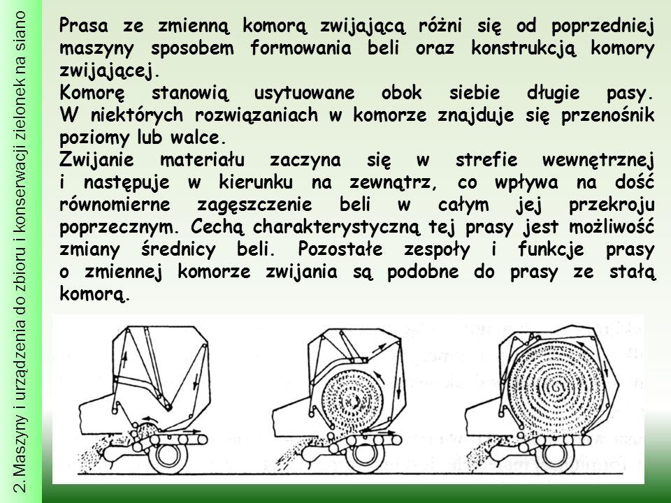 2. Maszyny i urządzenia do zbioru i konserwacji zielonek na siano Prasa ze zmienną komorą zwijającą różni się od poprzedniej maszyny sposobem formowan