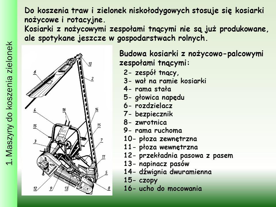 1. Maszyny do koszenia zielonek Do koszenia traw i zielonek niskołodygowych stosuje się kosiarki nożycowe i rotacyjne. Kosiarki z nożycowymi zespołami