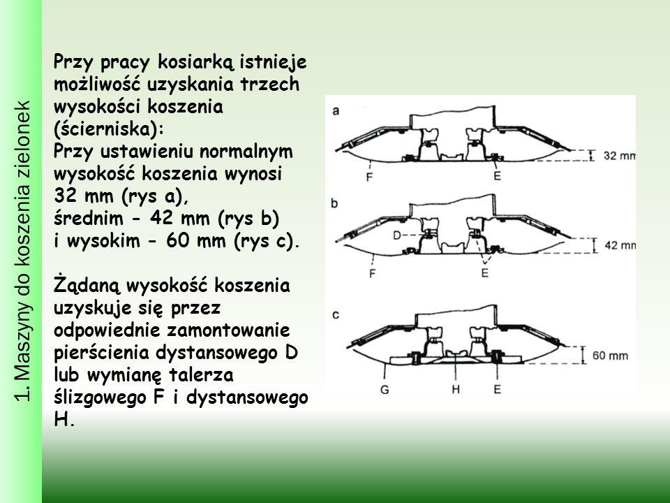 Przy pracy kosiarką istnieje możliwość uzyskania trzech wysokości koszenia (ścierniska): Przy ustawieniu normalnym wysokość koszenia wynosi 32 mm (rys a), średnim - 42 mm (rys b) i wysokim - 60 mm (rys c).