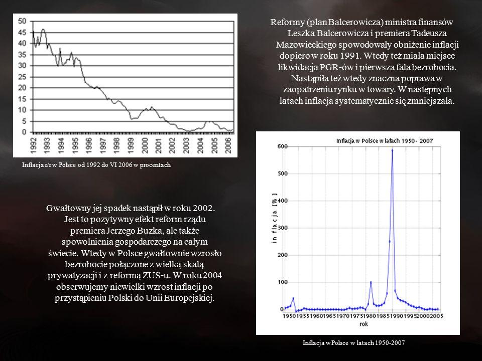 Reformy (plan Balcerowicza) ministra finansów Leszka Balcerowicza i premiera Tadeusza Mazowieckiego spowodowały obniżenie inflacji dopiero w roku 1991.