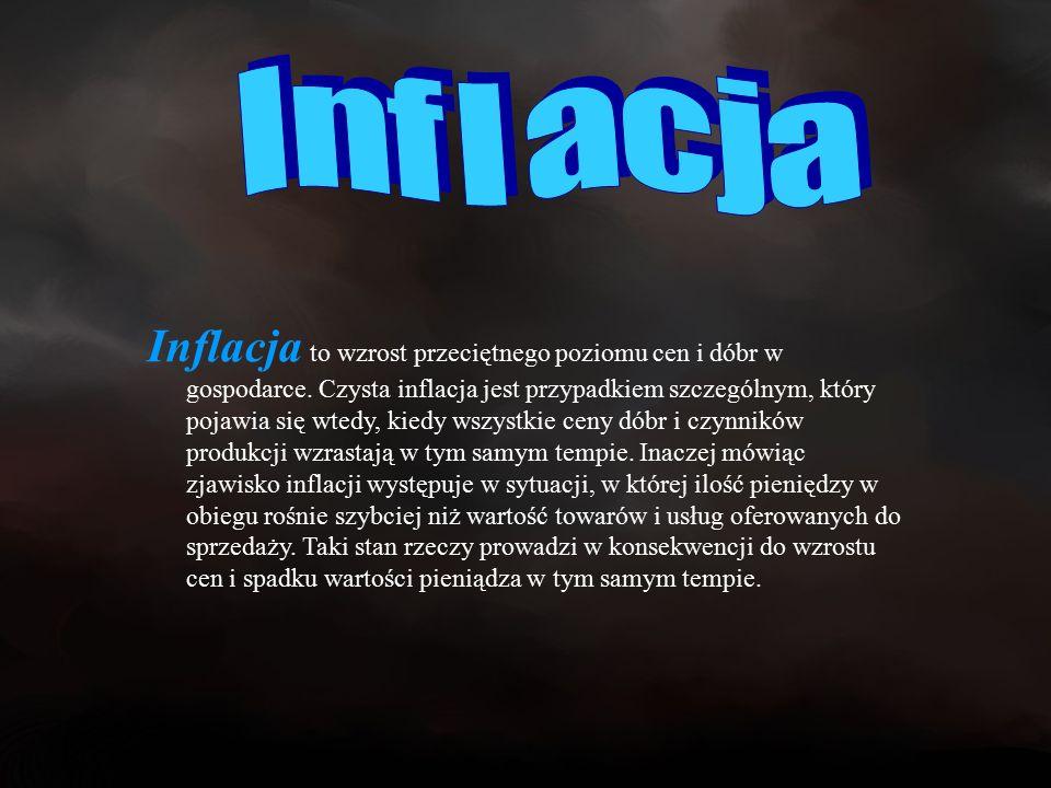 Inflacja to wzrost przeciętnego poziomu cen i dóbr w gospodarce.