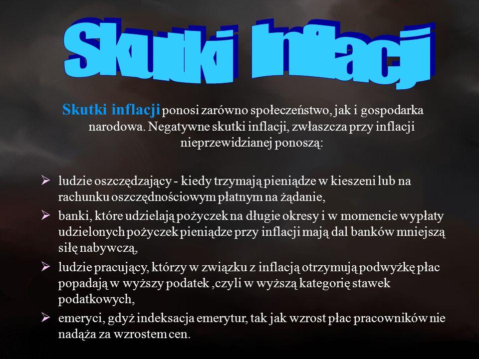 Skutki inflacji ponosi zarówno społeczeństwo, jak i gospodarka narodowa.
