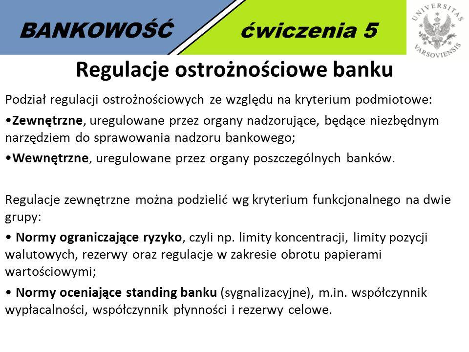 2 BANKOWOŚĆćwiczenia 5 Regulacje ostrożnościowe banku Podział regulacji ostrożnościowych ze względu na kryterium podmiotowe: Zewnętrzne, uregulowane przez organy nadzorujące, będące niezbędnym narzędziem do sprawowania nadzoru bankowego; Wewnętrzne, uregulowane przez organy poszczególnych banków.