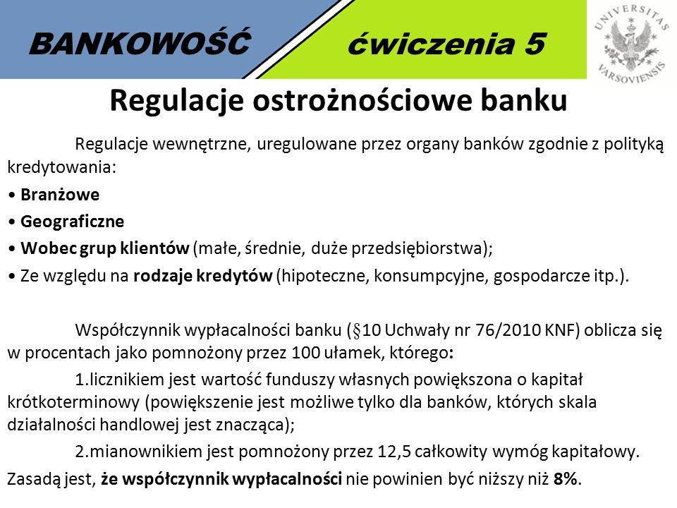 3 BANKOWOŚĆćwiczenia 5 Regulacje ostrożnościowe banku Regulacje wewnętrzne, uregulowane przez organy banków zgodnie z polityką kredytowania: Branżowe Geograficzne Wobec grup klientów (małe, średnie, duże przedsiębiorstwa); Ze względu na rodzaje kredytów (hipoteczne, konsumpcyjne, gospodarcze itp.).