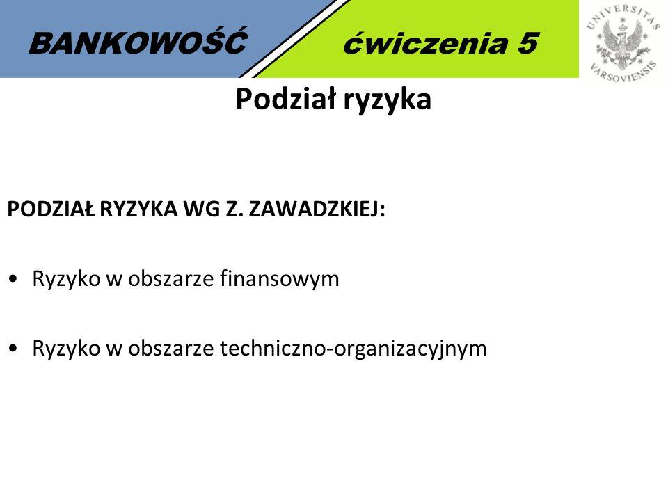 8 BANKOWOŚĆćwiczenia 5 Podział ryzyka PODZIAŁ RYZYKA WG Z.