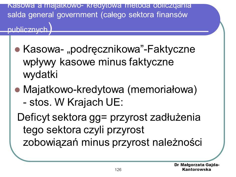"""Kasowa a majatkowo- kredytowa metoda obliczqania salda general government (całego sektora finansów publicznych ) Kasowa- """"podręcznikowa -Faktyczne wpływy kasowe minus faktyczne wydatki Majatkowo-kredytowa (memoriałowa) - stos."""