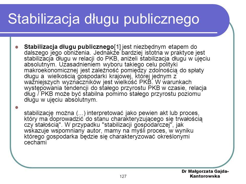 Stabilizacja długu publicznego Stabilizacja długu publicznego[1] jest niezbędnym etapem do dalszego jego obniżenia.
