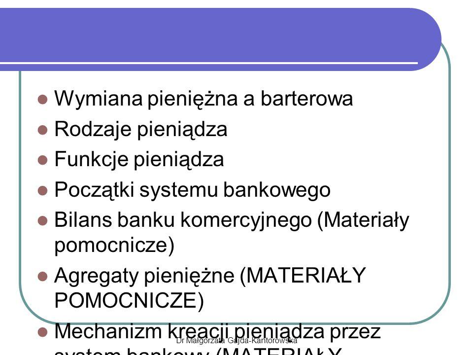 Wymiana pieniężna a barterowa Rodzaje pieniądza Funkcje pieniądza Początki systemu bankowego Bilans banku komercyjnego (Materiały pomocnicze) Agregaty pieniężne (MATERIAŁY POMOCNICZE) Mechanizm kreacji pieniądza przez system bankowy (MATERIAŁY POMOCNICZE) Dr Małgorzata Gajda-Kantorowska