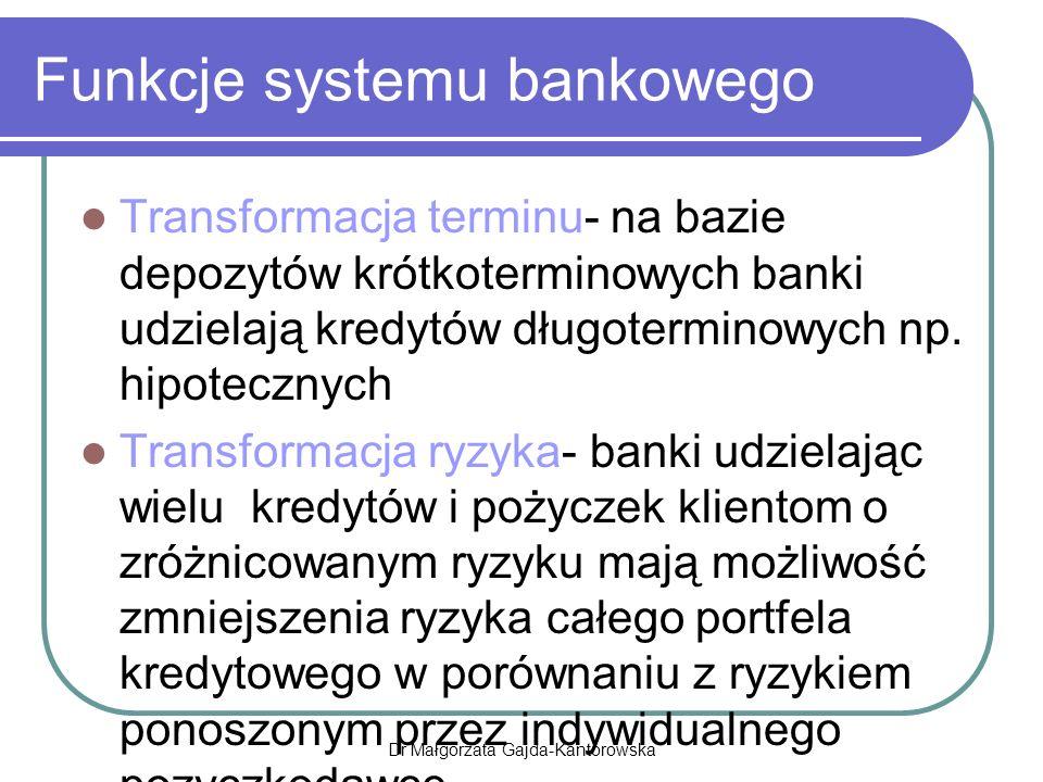 Funkcje systemu bankowego Transformacja terminu- na bazie depozytów krótkoterminowych banki udzielają kredytów długoterminowych np.