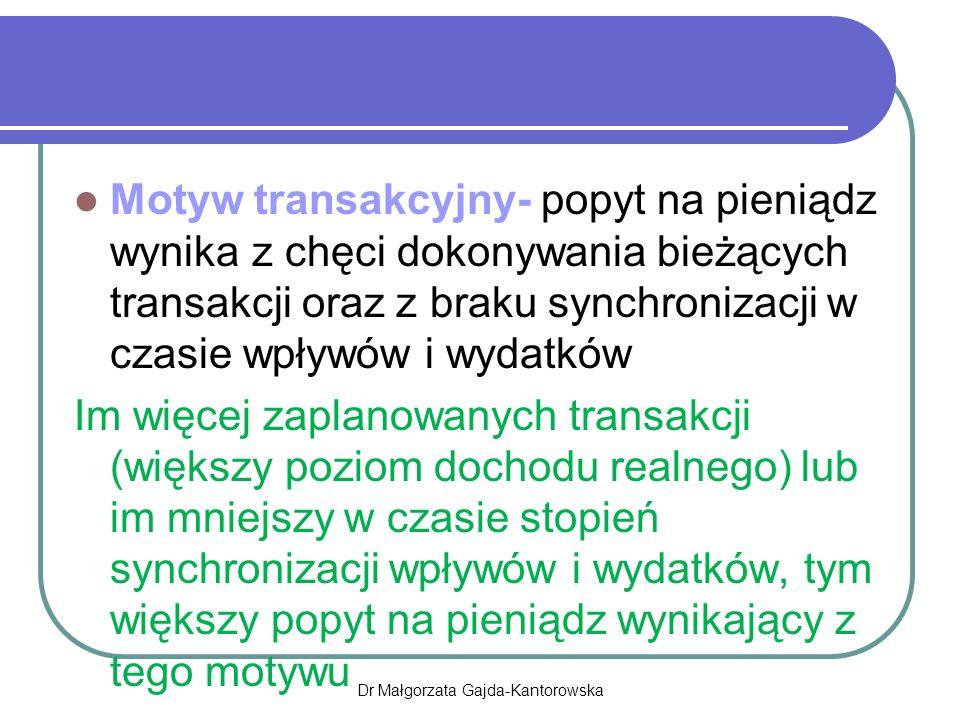 Motyw transakcyjny- popyt na pieniądz wynika z chęci dokonywania bieżących transakcji oraz z braku synchronizacji w czasie wpływów i wydatków Im więcej zaplanowanych transakcji (większy poziom dochodu realnego) lub im mniejszy w czasie stopień synchronizacji wpływów i wydatków, tym większy popyt na pieniądz wynikający z tego motywu Dr Małgorzata Gajda-Kantorowska