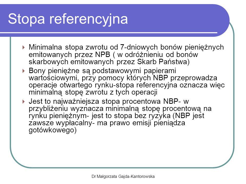 Stopa referencyjna  Minimalna stopa zwrotu od 7-dniowych bonów pieniężnych emitowanych przez NPB ( w odróżnieniu od bonów skarbowych emitowanych przez Skarb Państwa)  Bony pieniężne są podstawowymi papierami wartościowymi, przy pomocy których NBP przeprowadza operacje otwartego rynku-stopa referencyjna oznacza więc minimalną stopę zwrotu z tych operacji  Jest to najważniejsza stopa procentowa NBP- w przybliżeniu wyznacza minimalną stopę procentową na rynku pieniężnym- jest to stopa bez ryzyka (NBP jest zawsze wypłacalny- ma prawo emisji pieniądza gotówkowego) Dr Małgorzata Gajda-Kantorowska