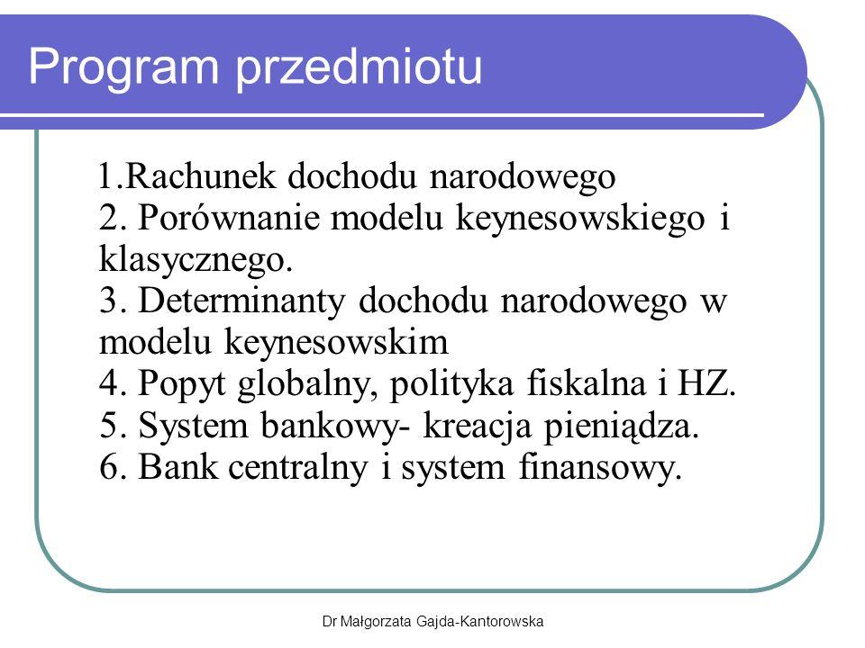 Program przedmiotu 1.Rachunek dochodu narodowego 2.