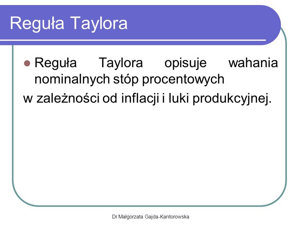 Reguła Taylora Reguła Taylora opisuje wahania nominalnych stóp procentowych w zależności od inflacji i luki produkcyjnej.