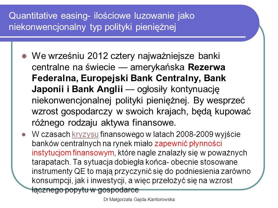 Quantitative easing- ilościowe luzowanie jako niekonwencjonalny typ polityki pieniężnej We wrześniu 2012 cztery najważniejsze banki centralne na świecie — amerykańska Rezerwa Federalna, Europejski Bank Centralny, Bank Japonii i Bank Anglii — ogłosiły kontynuację niekonwencjonalnej polityki pieniężnej.