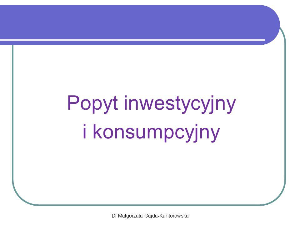 Popyt inwestycyjny i konsumpcyjny Dr Małgorzata Gajda-Kantorowska