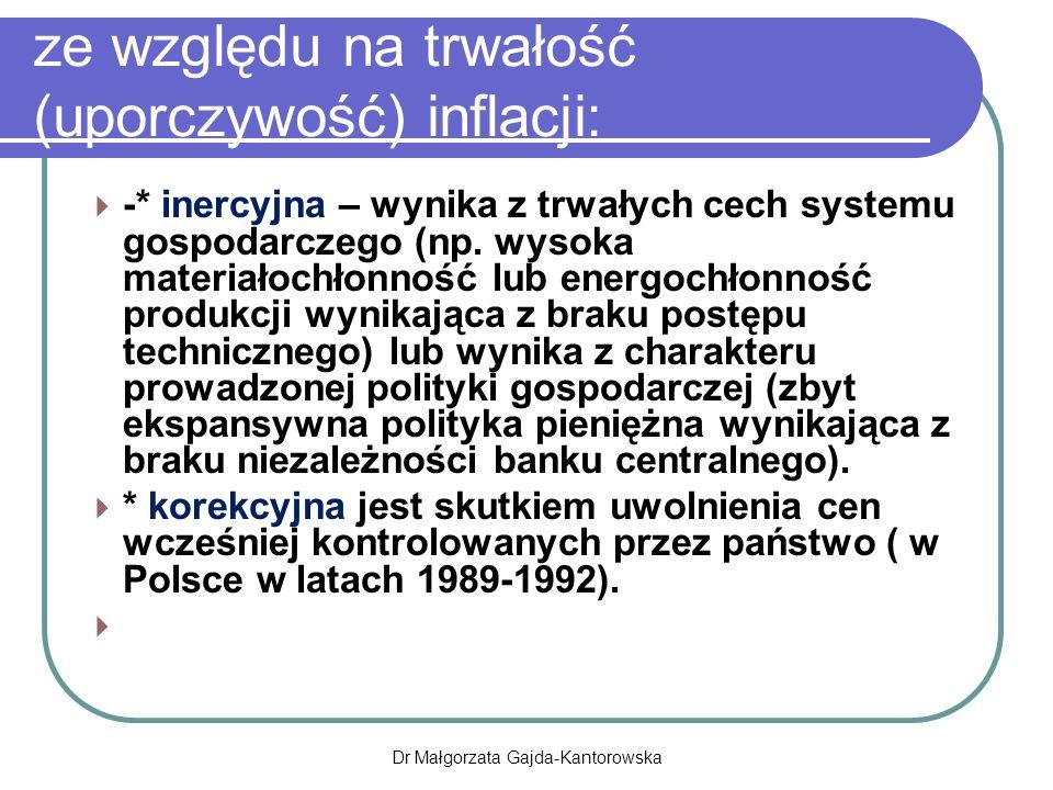 ze względu na trwałość (uporczywość) inflacji:  -* inercyjna – wynika z trwałych cech systemu gospodarczego (np.