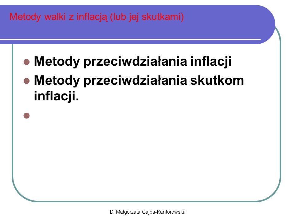 Metody walki z inflacją (lub jej skutkami) Metody przeciwdziałania inflacji Metody przeciwdziałania skutkom inflacji.