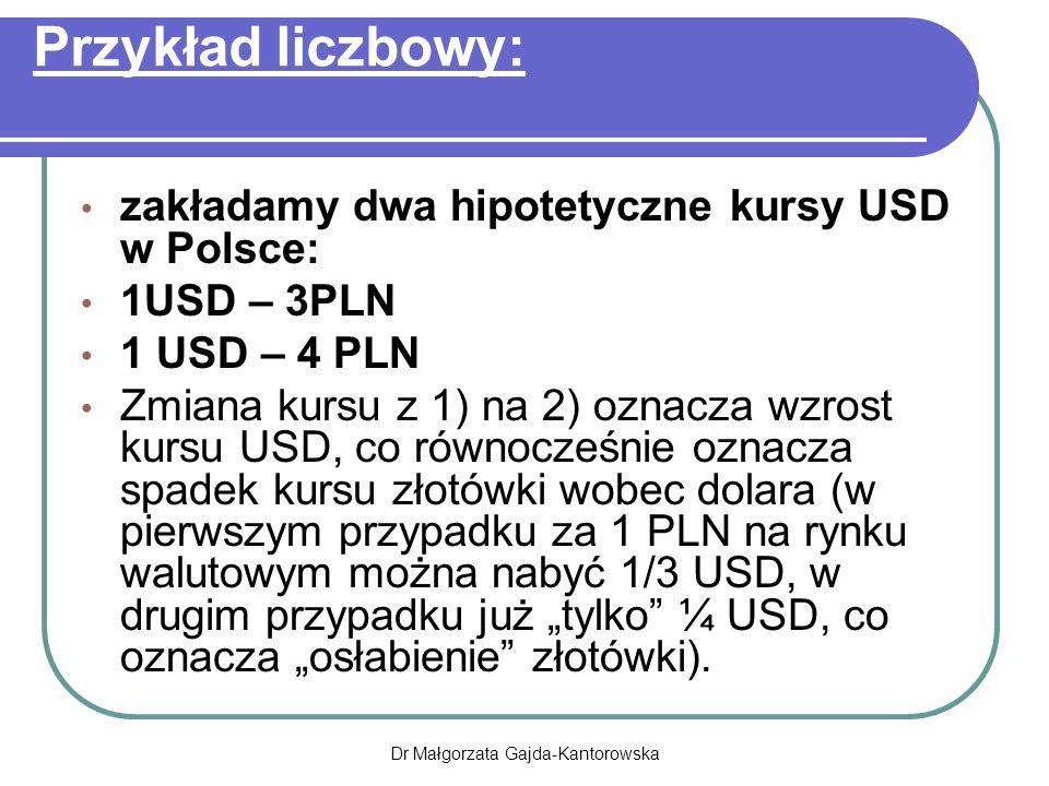 """Przykład liczbowy: zakładamy dwa hipotetyczne kursy USD w Polsce: 1USD – 3PLN 1 USD – 4 PLN Zmiana kursu z 1) na 2) oznacza wzrost kursu USD, co równocześnie oznacza spadek kursu złotówki wobec dolara (w pierwszym przypadku za 1 PLN na rynku walutowym można nabyć 1/3 USD, w drugim przypadku już """"tylko ¼ USD, co oznacza """"osłabienie złotówki)."""