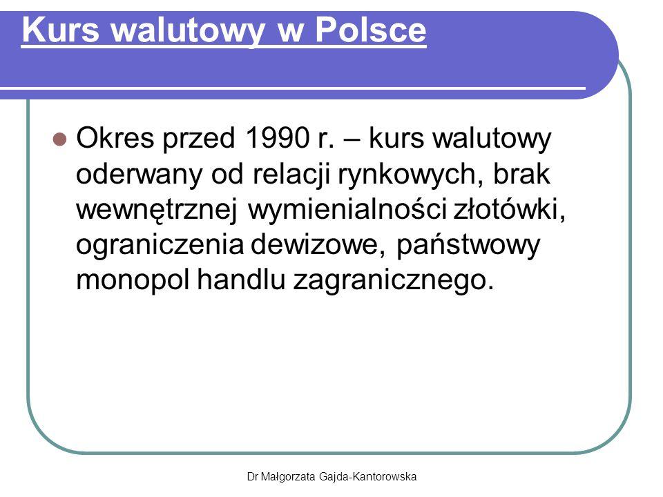 Kurs walutowy w Polsce Okres przed 1990 r.
