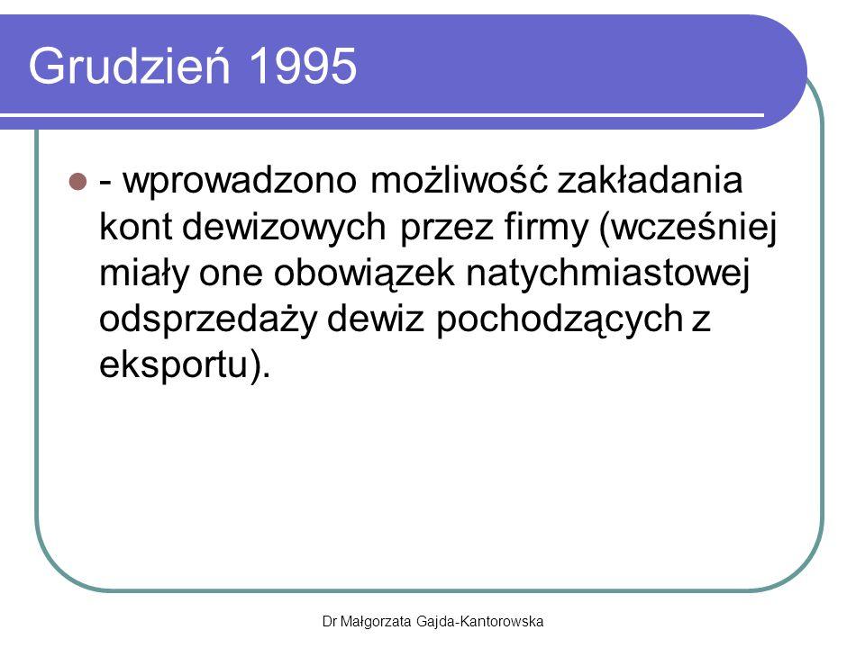 Grudzień 1995 - wprowadzono możliwość zakładania kont dewizowych przez firmy (wcześniej miały one obowiązek natychmiastowej odsprzedaży dewiz pochodzących z eksportu).