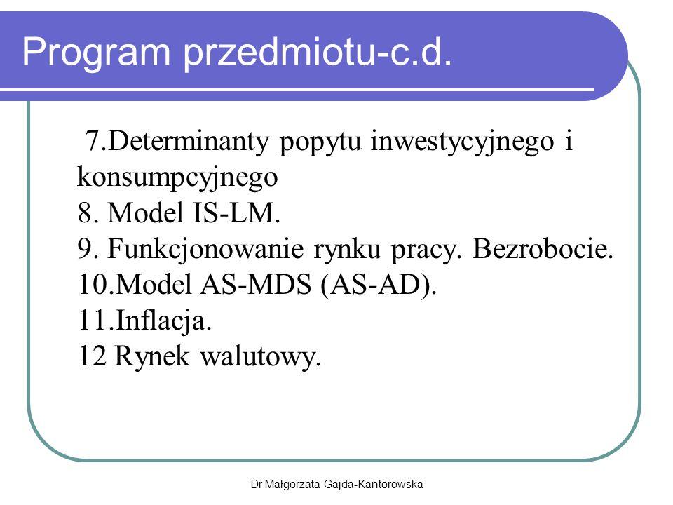 Dr Małgorzata Gajda-Kantorowska Program przedmiotu-c.d.