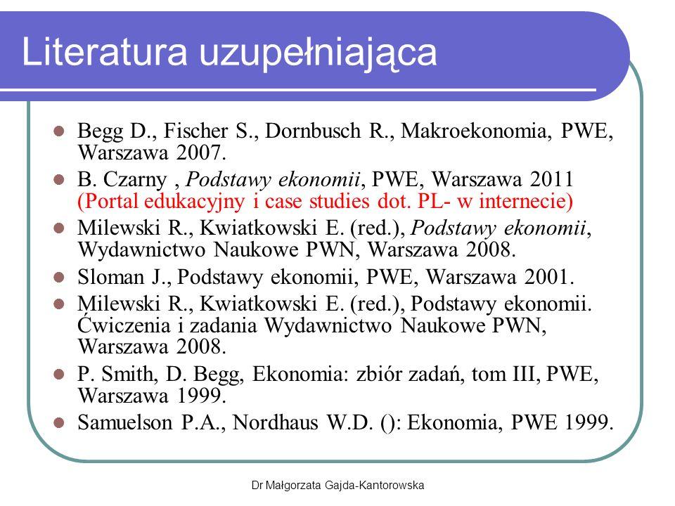Niezależność banku centralnego a przeciętna stopa inflacji Dr Małgorzata Gajda-Kantorowska