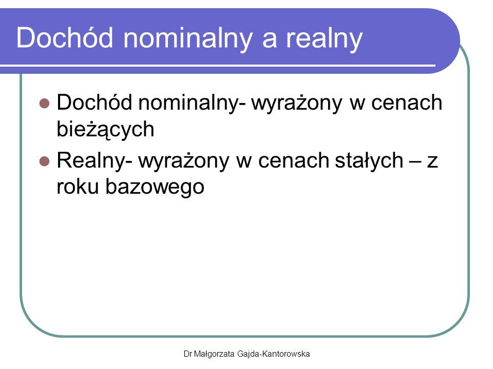 Dochód nominalny a realny Dochód nominalny- wyrażony w cenach bieżących Realny- wyrażony w cenach stałych – z roku bazowego Dr Małgorzata Gajda-Kantorowska